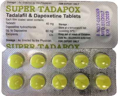 Super Tadapox (40mg Tadalafil & 60mg Dapoxetine) Tabletit